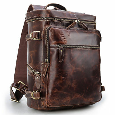"Vintage Real Leather Backpack For Men Travel Work 16"" Laptop Daypack School Bag"