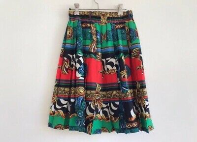 Vintage 80s 90s Pleated Colourful Red Green Gold Midi Skirt Graphic Print