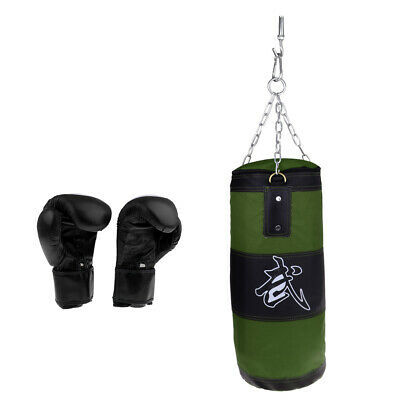 Unfilled Punching Bag with Hanging Buckle Hooks & Heavy Duty Punch Gloves