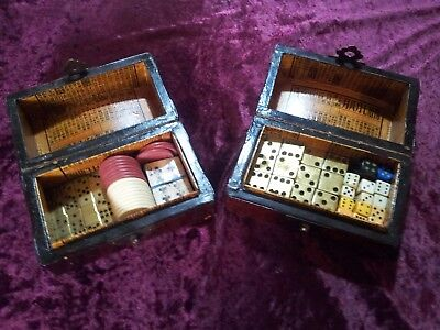 Pair of Antique 19th Century Chinese Gaming Boxes and Contents