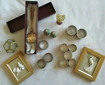 Collectables - Job Lot Napkin Rings, Scent Bottles, Past Times SP Spoon Etc