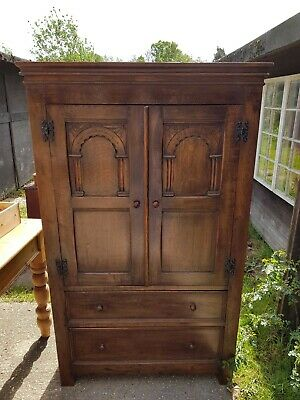 Antiques Armoires/wardrobes The Cheapest Price Edwardian Bowfront 2 Door Oak Wardrobe With Key