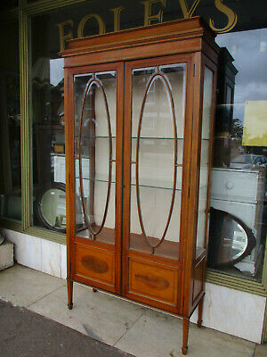 Edwardian Antique Bevelled Glass Inlaid  Display Cabinet / Glazed Bookcase
