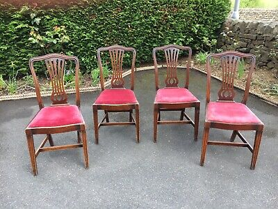 Set of 4 Fiddle Back Dining Chairs (Restaurant / Pub / Bar / Cafe / Chairs)