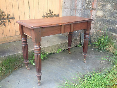 Antique William IV Cuban Mahogany Console Side Table (Circa 1840) Hall Desk