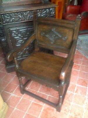 Splendid 17th century lozenge carved oak Wainscot armchair Anglesey North Wales