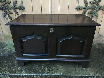 Small Carved Oak Mule Chest Coffer 18th Century Children's Gothic Desk Bible Box