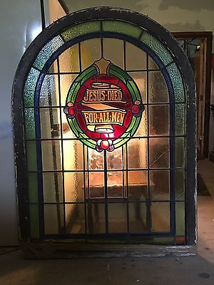 Fine Victorian gothic church stained glass arched window Jesus Died For All Men