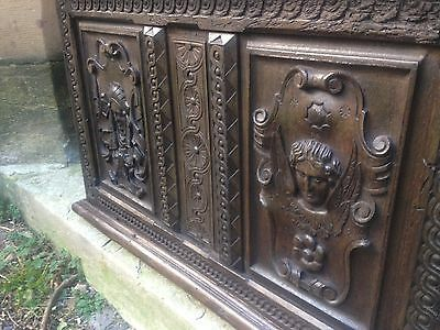 Exceptional 16th Century Two Panel Carved Oak Church Coffer Angel Elizabethan