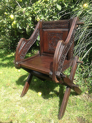early carved Glastonbury chair abbots church bishop throne georgian