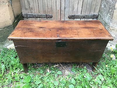 CHARLES II ENGLISH WEST COUNTRY OAK SIX PLANK BOARDED COFFER CHEST 17th Century