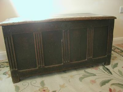 Early 18th century Carved Georgian Oak Pine Mule Chest Coffer Blanket Box