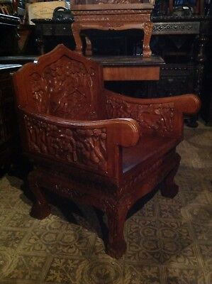 Pair Carved Throne Chairs Bali Cambodia Vietnam Burma Indonesia Laos Thailand