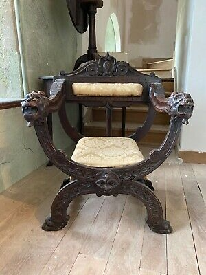 Carved Savonarola Medieval Gothic X Frame Walnut Throne Chair 18th Century