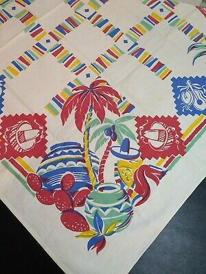 Vintage Mexican Print Tablecloth Sombrero Cactus Pottery Palm Trees 49x66