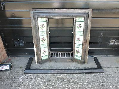 Antique Cast Iron Tiled Fire Place Surround & Fender