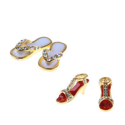 Dollhouse Miniatures High-heeled Shoes With Diamond Gold Metal 1Pair OD014