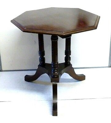 Antique Vintage Mahogany Hexagonal Tripod Side Table