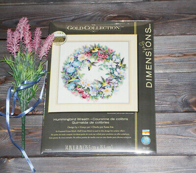 Dimensions Counted Cross Stich Gold Collection Hummingbird Wreath 35132