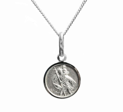 925 Sterling silver small 10mm round st christopher & chain girls boys gift set