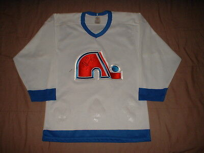 b431af5c9d7 Vintage Quebec Nordiques White CCM Men's Small Original NHL Hockey Jersey  Signed