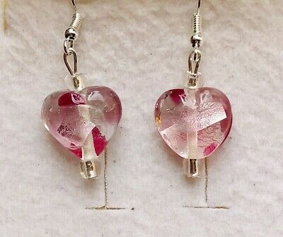 Stunning Silver-lined Baby & Hot Pink Murano Glass Drop Earrings