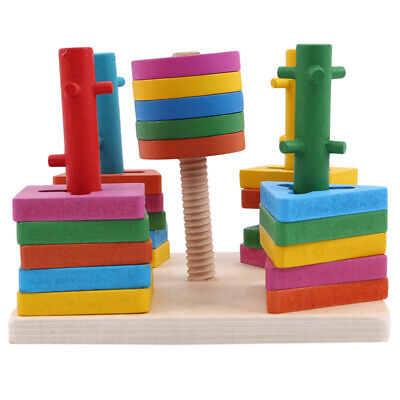 Five Column Wooden Educational Toddler Geometric Shapes Block Board Stack Toys N