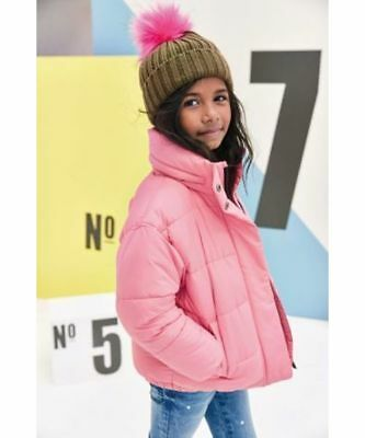 BNWT NEXT Girls Pink Padded Puffa Winter Coat Jacket Hood In Collar 5-6 Years