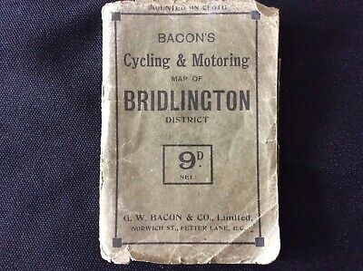 Bacons  Cycling And Motoring Cloth Map Of Bridlington & Yorkshire District