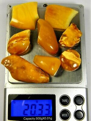 Baltic Amber stones 20 grams old vintage butterscotch / egg yolk / yellow 2410