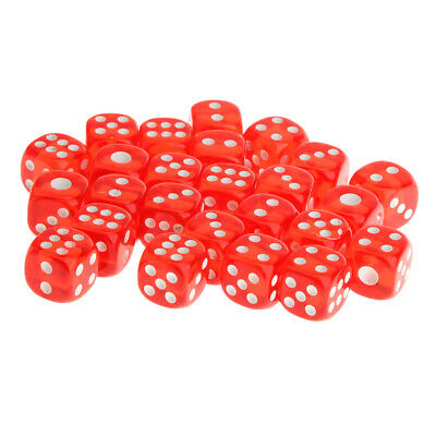 25pcs 12mm Translucent Six Sided Spot Dice D6 D&D RPG Games Lovers Gift Red