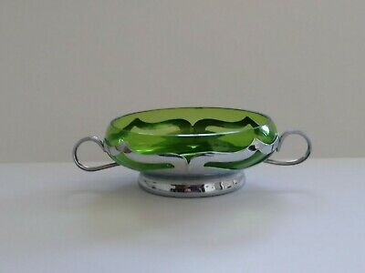 Farber Bros Krome Kraft Dish With Green Glass Vintage