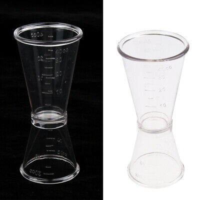 Clear Plastic Cocktail Double Jigger Wine Shot Glasses Drink Measuring Cup