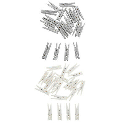 20x Glitter Clothes Pins Wood Clothes Photo Paper Peg Craft Clips 48mm White