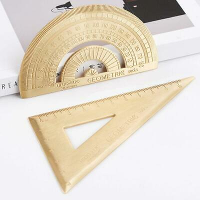 Retro Copper Metal Natural Color Brass Triangular Ruler for Student Supply