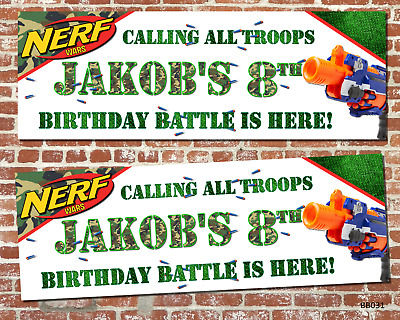 X2 Personalised Camo Nerf Wars Birthday Party Banners or X1 Digital Banner