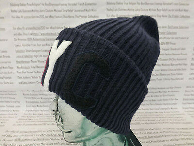 6bb30c2e1 TOMMY HILFIGER TURN-UP Beanie Mens OVERSIZE Ribbed Hat Navy Skull Cap BNWT  R£45
