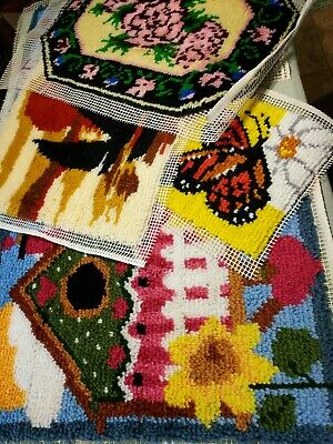 Lot of 5 Unfinished Assorted Latch Hook Rugs Mats Cushions Hangings