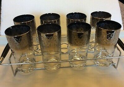 Dorothy Thorpe Ombré Set Of 8 Embossed Midcentury Glasses With Caddy Vintage
