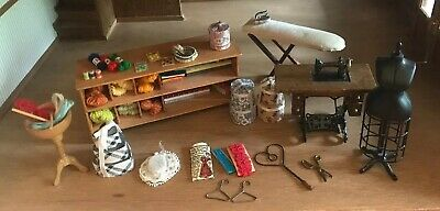 DOLLHOUSE MINIATURES ARTISAN CREATED Sewing shelf basket machine hat boxes lot!
