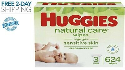 Huggies Natural Care Baby Wipes Refill Unscented Hypoallergenic Aloe 624 Count