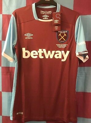 BNWT West Ham United home football 2016/17 Olympic Park shirt. Size Small