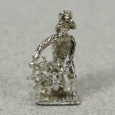 Vintage Sterling Silver Mariner Sea Captain Nautical Charm -- 1104