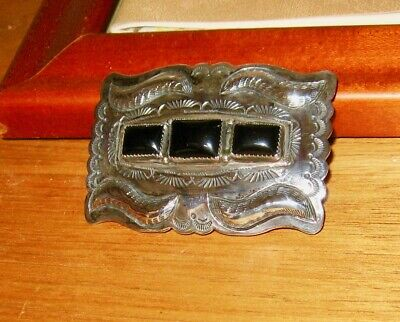 Vintage Sterling Silver Belt Buckle with 3 Onyx stones EUC Marked J