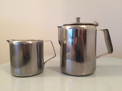 CATERING STAINLESS STEEL 500ml TEA POT HEAT RESISTANT HANDLE AND MILK JUG 300ml