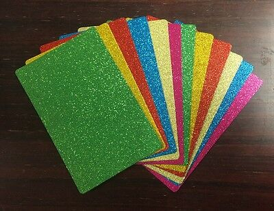 9.2cm x 14cm GLITTER CARDSTOCK (PACK 3) 12 SHEETS, 6 COLOURS, 400gsm