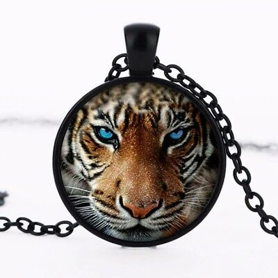 Tiger Blue Eyes Art Crystal Glass Pendant Necklace Jewelry Gift Bag - Black