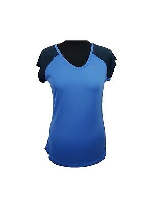 Nike Active Dri Fit Running Fitness Gym T Shirt Womens Top Blue 298905 415 RW53