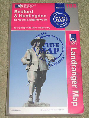OS Ordnance Survey Landranger 1:50,000 Sheet 153 Bedford & Huntingdon ACTIVE MAP