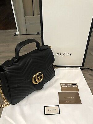 ffc273cdef0479 GUCCI GG BLACK Leather and Chain Shoulder Bag - Used - $765.00 ...
